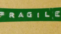 Fragile label close shot 2 Stock Footage