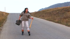 Weird Woman Creaming At Road Stock Footage