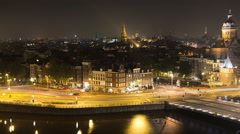 Time Lapse of Traffic in Central Amsterdam Netherlands Night Stock Footage
