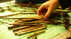 Dried stick sticks on table dry Stock Footage