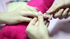Manicure. Beauty saloon. Close-up Stock Footage
