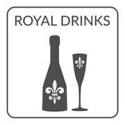 Royal Drinks sign Wine menu design - stock illustration
