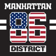 Manhattan district t-shirt Stock Illustration
