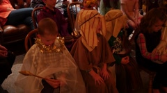 Children at christmas party dressed for nativity Stock Footage