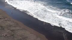 Stock Video Footage of beach aerial - people swimming in ocean