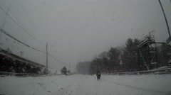 POV dashcam driving in a snowstorm in Muskoka Ontario Stock Footage