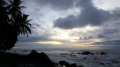 Cloudy sunrise with palmtrees at the coast of Montezuma Stock Footage