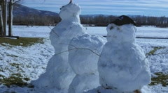 Stock Video Footage of Large snow men with antlers