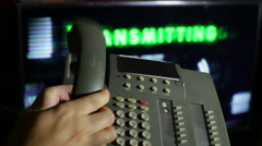 Transmitting on phone transmit signal signaling 2 Stock Footage