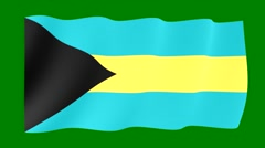 Bahamian-flag. Waving PNG. Stock Footage