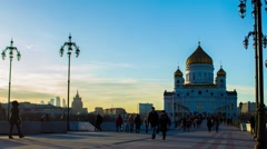 Moscow city Cathedral of Christ the Saviour Tourists Russia Moscow landmark Stock Footage
