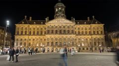 Time Lapse - Royal Palace at Night Dam Square Amsterdam Netherlands Stock Footage