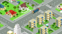 Gasoline tanker rides through the street of the city looped animated. Stock Footage