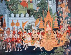 Thai mural painting of the life of Buddha - stock photo