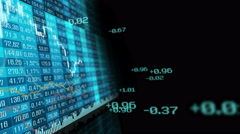 Table and bar graph of stock exchange market indices animation. - stock footage