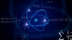 Flying math formulas looped animated abstract background. Atom model animation. Stock Footage