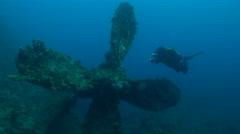 Big propeller of Umbria shipwreck - Red Sea, Sudan Stock Footage