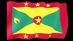 Granadian flag. Waving PNG. - stock footage