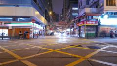 Night city T-junction traffic time-lapse, vehicles sweep past on foreground Stock Footage