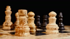 Footage of a chess game and a person performs the castling Stock Footage