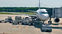 Baggage handlers offloading luggage from a passenger jet Stock Footage