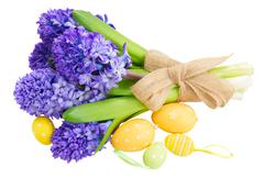 Blue  hyacinth with easter eggs Stock Photos