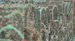 Lobster creels sitting at Pitenweem harbour, Scotland Stock Footage