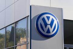 PRAGUE, CZECH REPUBLIC - OCTOBER 1: Volkswagen car maker logo on a building o - stock photo