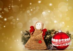 Christmas decoration with handmade angel Stock Photos