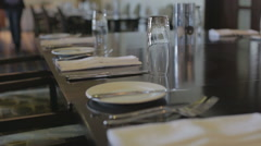 Slider shot of an emply restaurant ready for service Stock Footage