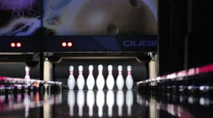 Bowling strike pins - stock footage