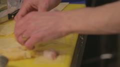 Restaurant chef preparing ravioli in the kitchen Stock Footage