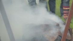 Haddock being smoked in the traditional way in Arbroath Stock Footage