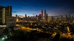 A 4K Footage Sunrise View of Petronas Twin Towers  Stock Footage