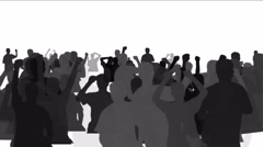 Stock Video Footage of 4k Cheering crowd group people men human  procession,concert rallies silhouette