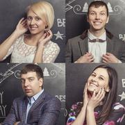 Portraits of men and women on the background walls are covered - stock photo