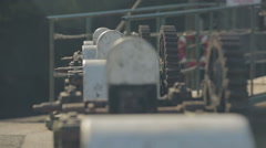 Old bridge mechanism at a harbour dock in Scotland Stock Footage