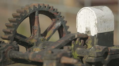 Old bridge mechanism at a harbour dock in Scotland - stock footage