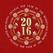 Stock Illustration of Chinese New Year Monkey 2016 label decoration