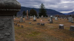 Creepy old cemetery on a hill - stock footage