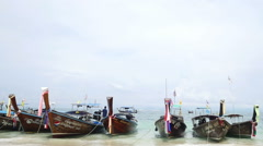 Traditional tourist long tailed boats waiting for travelers Stock Footage