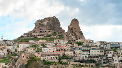 Timelapse video of Uchisar Castle cave houses. Stock Footage