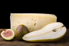Pear, cheese and fig Stock Photos