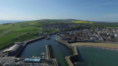 Aerial shot of Eyemouth Harbour, borders, Scotland Stock Footage