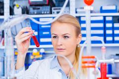 Chemical laboratory scene: attractive young student scientist observing the b Stock Photos