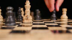 A black bishop moves and wins by a checkmate, he hits the white king Stock Footage
