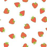 Stock Illustration of Strawberry vector seamless pattern. Cute tasty berry design for fabric print