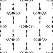 Stock Illustration of Tribal arrow and eye simple scandinavian style seamless pattern