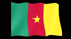 Camaroonian flag.  Waving PNG. Stock Footage