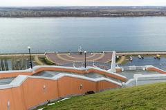 Nizhny Novgorod, Russia - November 11, 2015. View of the Volga river from a v - stock photo